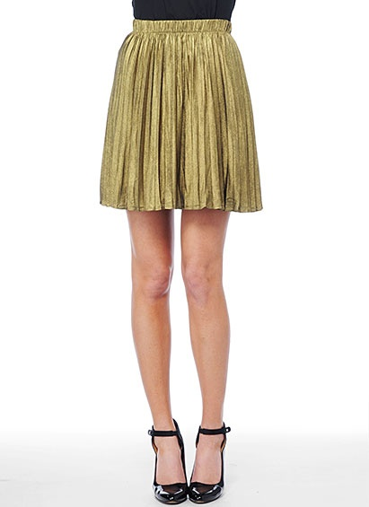 Gold Pleated Skirt.