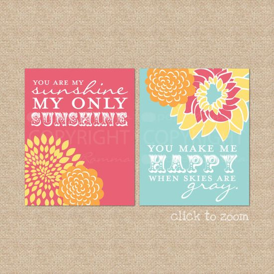 You are my Sunshine Art Print Set  8x10  Archival by PaperRamma, $35.00