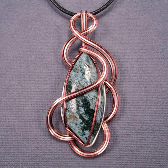 Green Ochoco Moss Agate Pendant Wire Wrapped by UptightWanda, $50.00