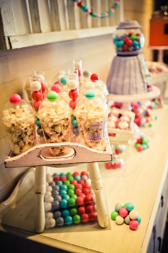 Popcorn gumball machine treats! Gumball bubblegum themed 8th Birthday Party with Lots of REALLY CUTE Ideas via Kara's Party Ideas