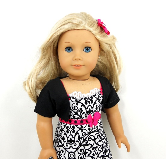 American Girl 18 doll clothes wrapped dress black by MegOriGirls, $18.00
