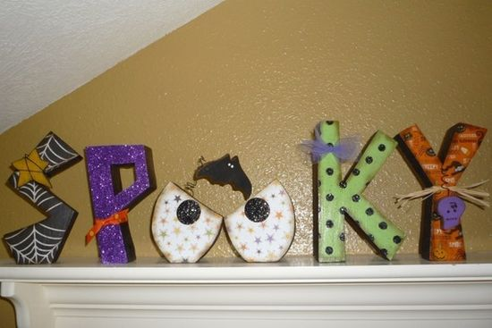 halloween spooky wood letters