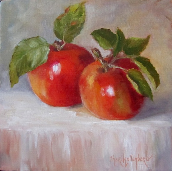 Apple Oil Painting Red Apple Original Oil Painting 10x10 by Cheri Wollenberg