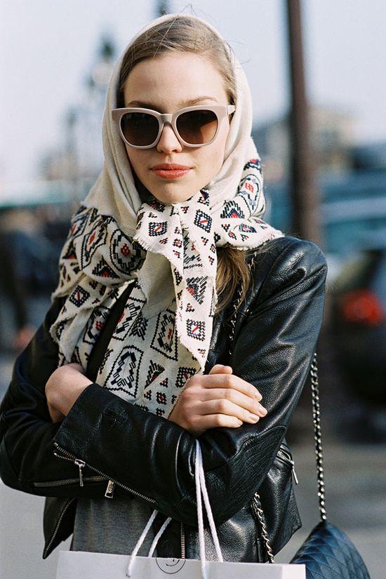 leather jacket + scarf.