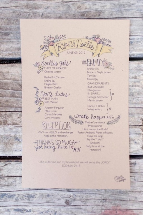 wedding programs hand-drawn with love  Photography by weheartphotograph...