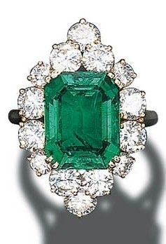 Cartier Emerald and Diamond Cluster Ring