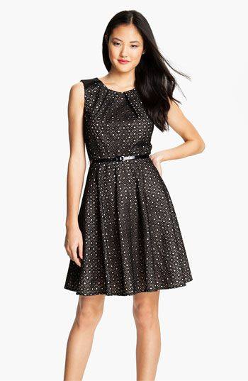 Vince Camuto Belted Eyelet Fit & Flare Dress available at #Nordstrom