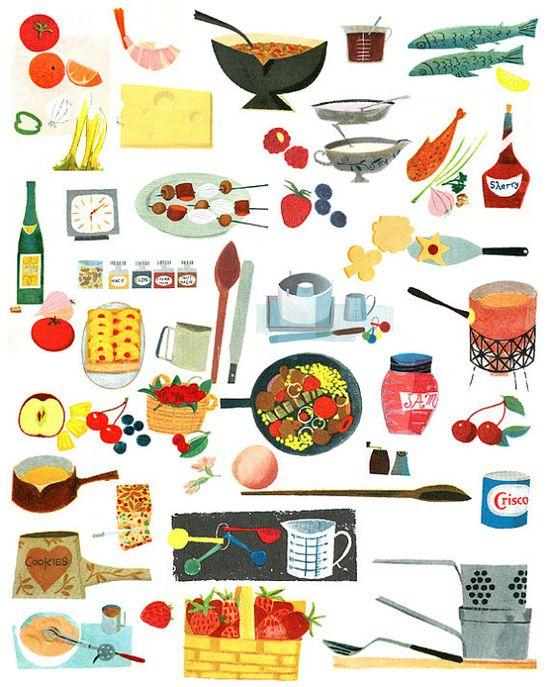 Mid Century Cookbook Graphics.