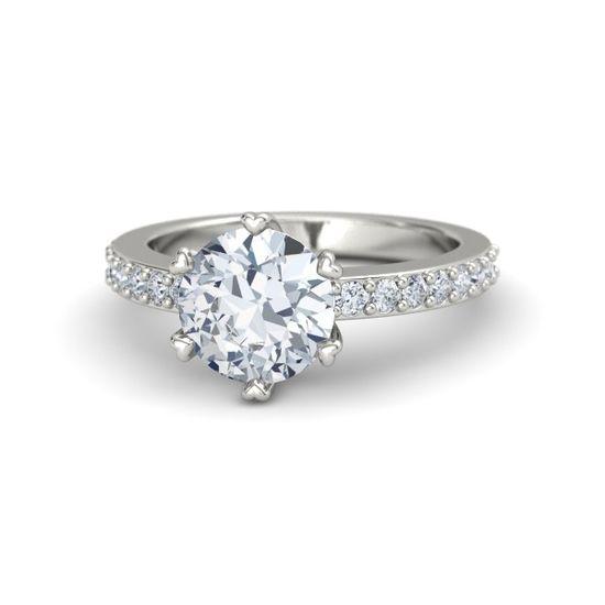 Round Diamond Platinum Ring with Diamond