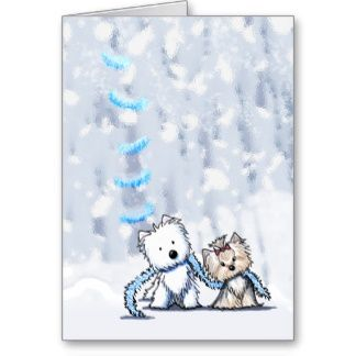 Winter Terriers Greeting Card   Click on photo to purchase. Check out all current coupon offers and save! www.zazzle.com/...
