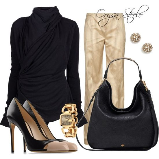 """Black and Beige"" by orysa on Polyvore"