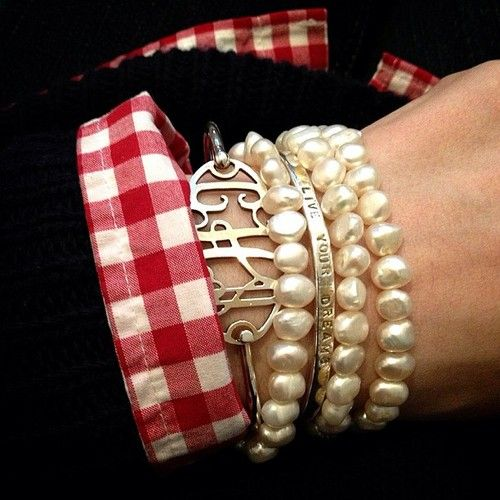 Monogram bracelet, gingham, and pearls - classic look that never goes out of style.