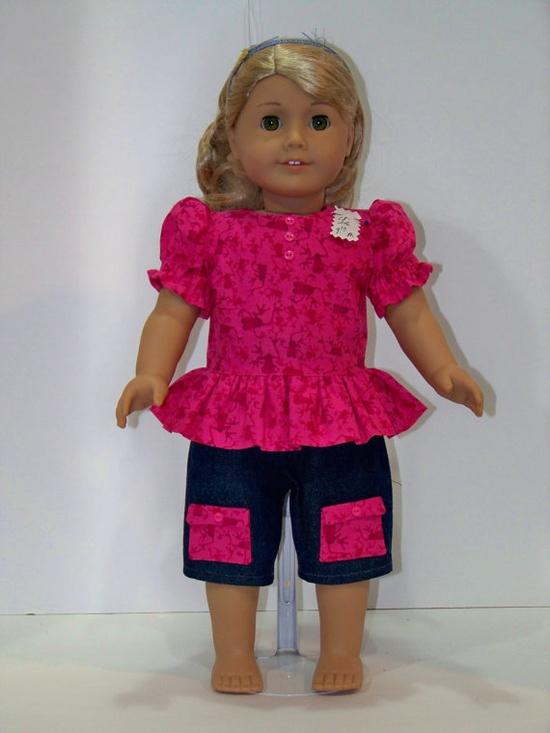 American Girl Doll Capri Short Set by StuffMyWay on Etsy, $9.00