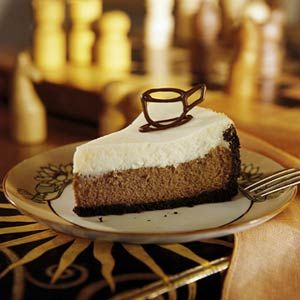 A coffee-flavored chocolate layer topped with a creamy basic cheesecake layer will remind you of the namesake beverage--coffee lightened with milk or cream.