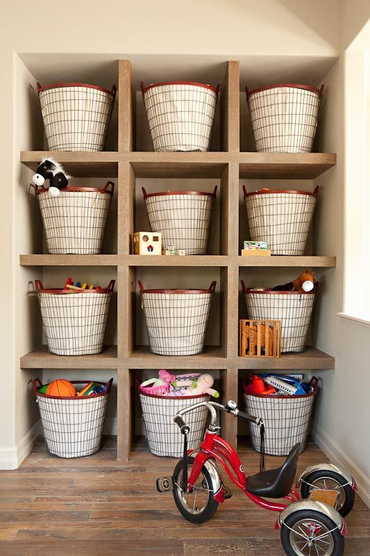 Shelves of baskets for toy storage