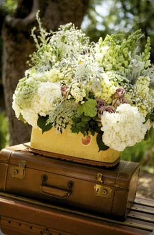 arrangement in vintage luggage