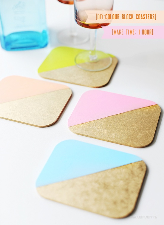 DIY: colour blocked coasters