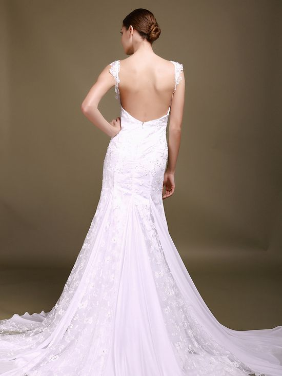 Lace Straps with Low Back Mermaid Wedding Dress
