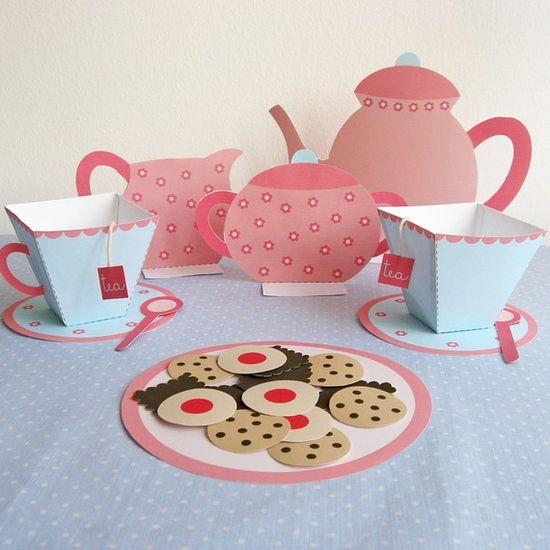 Printable Paper Tea Set by neskita on Etsy