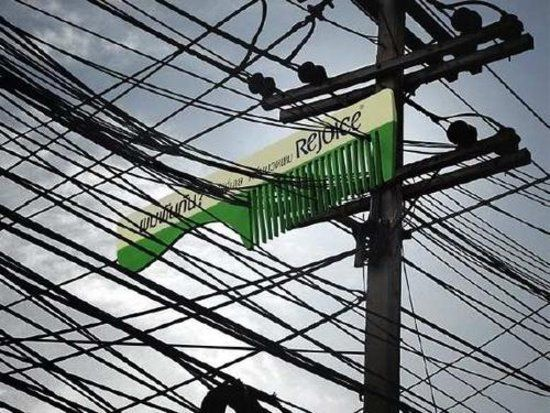 Great use of tangled wires/telephone lines!