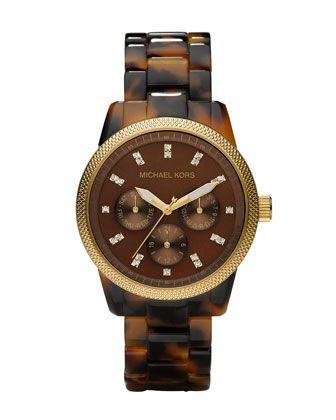 Michael Kors Tortoise Jet Set Watch. $225