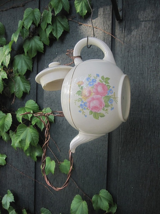 treapot - upcycled teapot birdhouse but will a bird really make a house in it