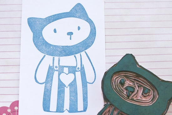 Stamp 'cat'   Handmade unmounted by littleZ on Etsy, €17.30
