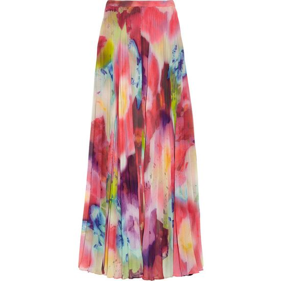 Alice + Olivia Shannon printed chiffon maxi skirt found on Polyvore