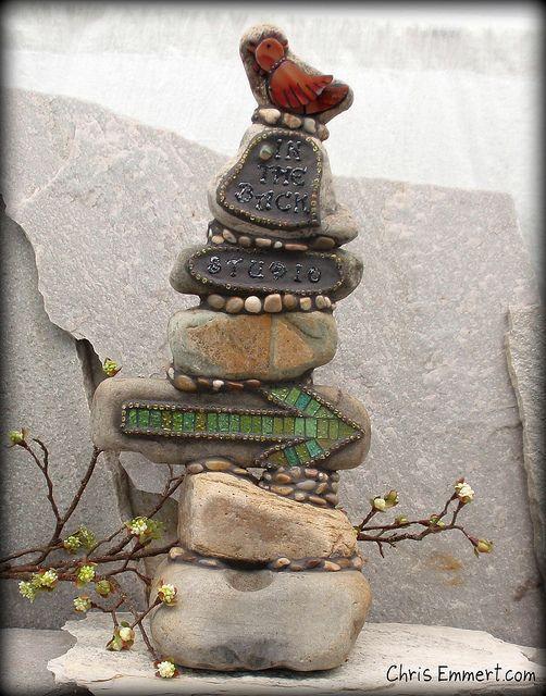 Mosaic Rock Totem by Mosaic Artist Chris Emmert