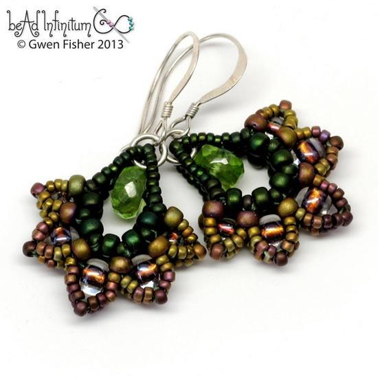 Fallen Leaves Beaded Earrings Green Peridot Fall Leaves. $36.00, via Etsy.