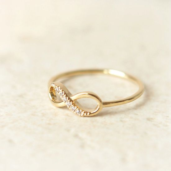 Infinity Ring in gold. $15.00, via Etsy. - I want this in silver.