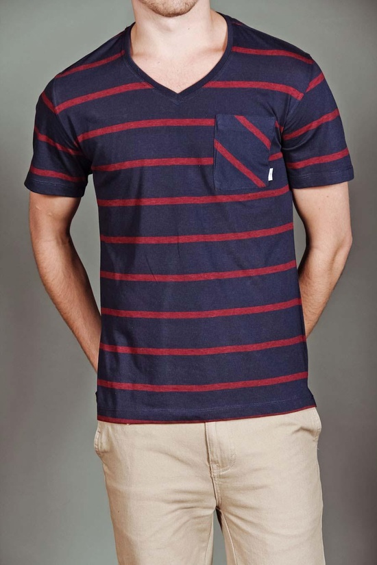 Navy and red stripe