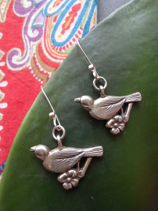 Birdie Blossom Earrings in Sterling Silver « SilverBotanica – Handmade Jewelry designed by Alicia Hanson and Hi Octane Industries Inc.