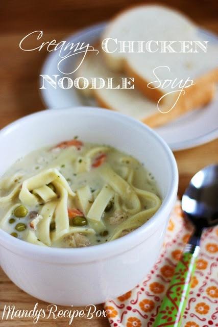 Creamy Chicken Noodle Soup on Mandy's Recipe Box.