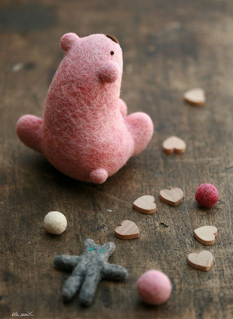 pink polar bear . softie