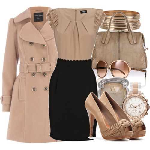 winter work outfit - pink