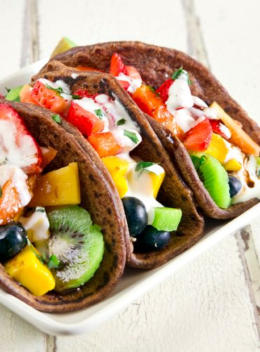 Fruit Taco With Chocolate Tortillas!! So good and healthy your kids will love it!!