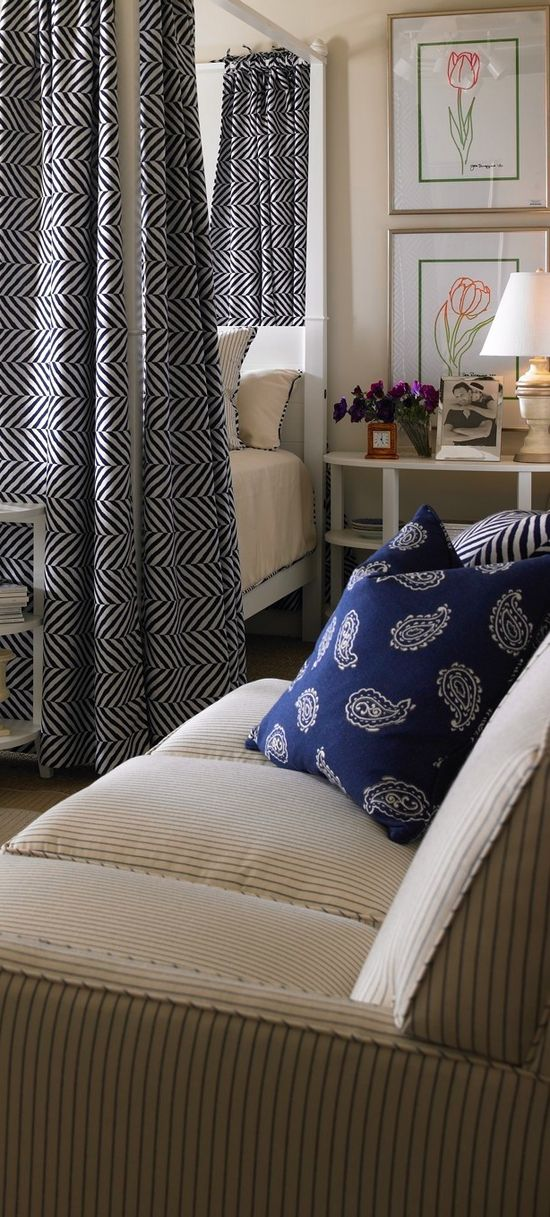 Deep Indigo and white room designed by Joe Ruggiero