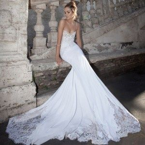 A-line train lace sexy wedding #Romantic Elegance Collections