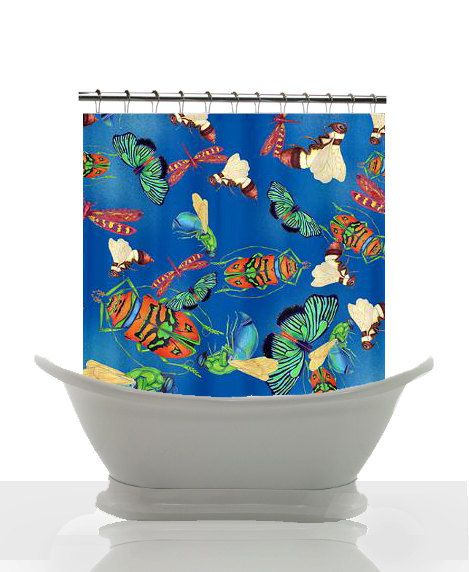 Artistic Shower Curtain - Bugapalooza -unique, boy's bathroom design, bugs, beetles, butterflies, bees, blue, decor #boys #bugs #beetles