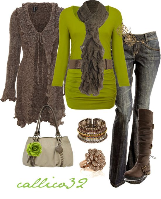 """Green & Browns"" by callico32 on Polyvore"