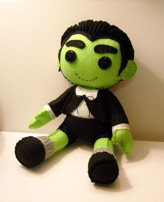 Felt Eddie Munster inspired custom plush stuffed rag doll toy I love those little round legs!
