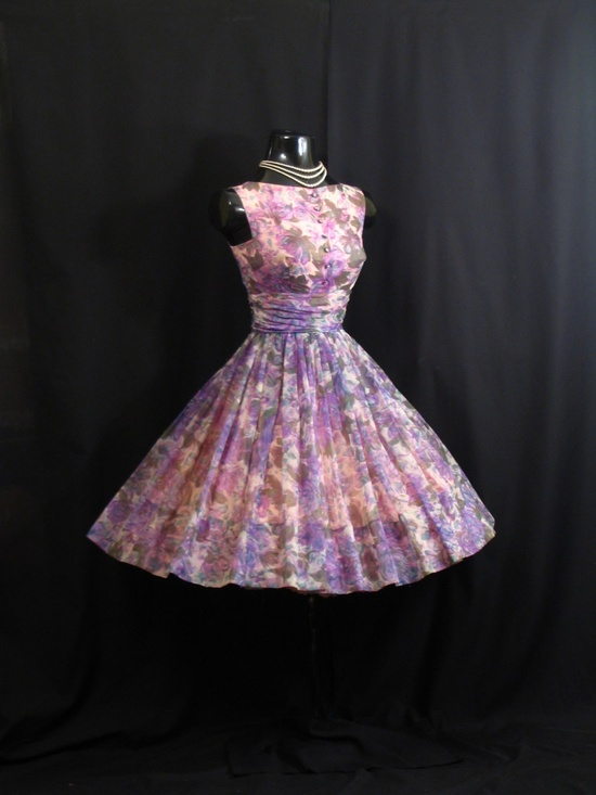 Vintage 1950s 50s Lilac Blue Ruched Floral SILK Chiffon Organza Party Prom Wedding Dress Gown