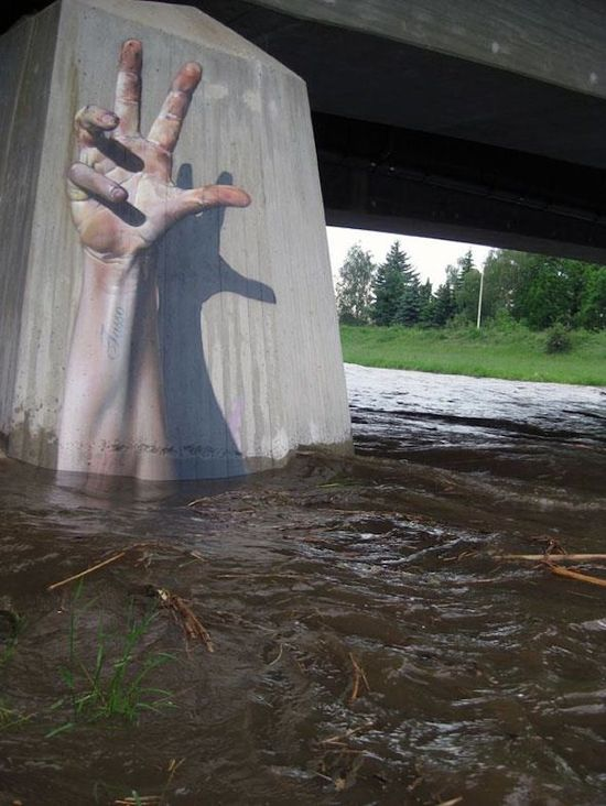 3D street art in raging waters (hand, great, amazing, beautiful, cool, interesting, creative, wall, bridge)