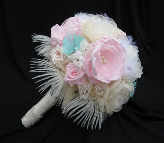 Ivory pink and mint ENCHANTMENT  Large Luxury by ericacavanagh, $220.00