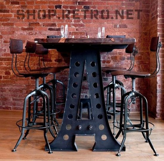 It can be a dining table or a desk; either way, this funky furniture is inspired by French Industrial pieces. (From Vintage Industrial)