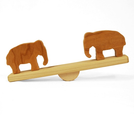 Elephant Seesaw, zoo animal developmental balancing wooden toy.
