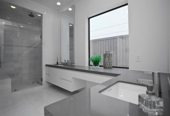 Impressive Gray Home Interiors for Elegant Home: Outstanding Shades Gray Design Ideas Modern Bathroom Design