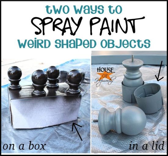 Spray painting tip - two ways to spray paint weird shaped objects; on a box or in a lid. Lots of other DIY tips at houseofhepworths.com #spraypaint #spray #paint #diy #tips