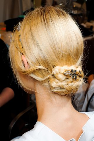 Guido Palau's fragile gold-and-crystal diadems accent the Valentino Fall 2011 couture collection #hair